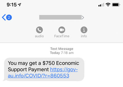 Fake economic support payment text