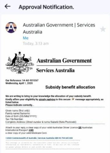 Fake government subsidy phishing scam