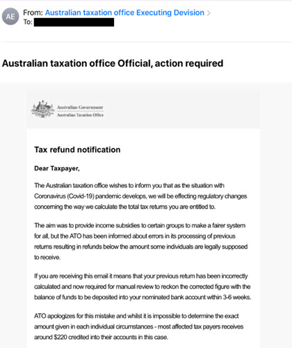 Fake ATO tax credit scam