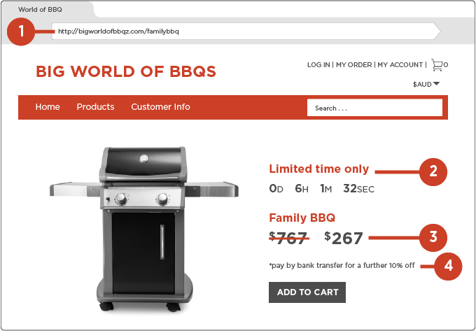 Image of website selling BBQs indicating scam signs