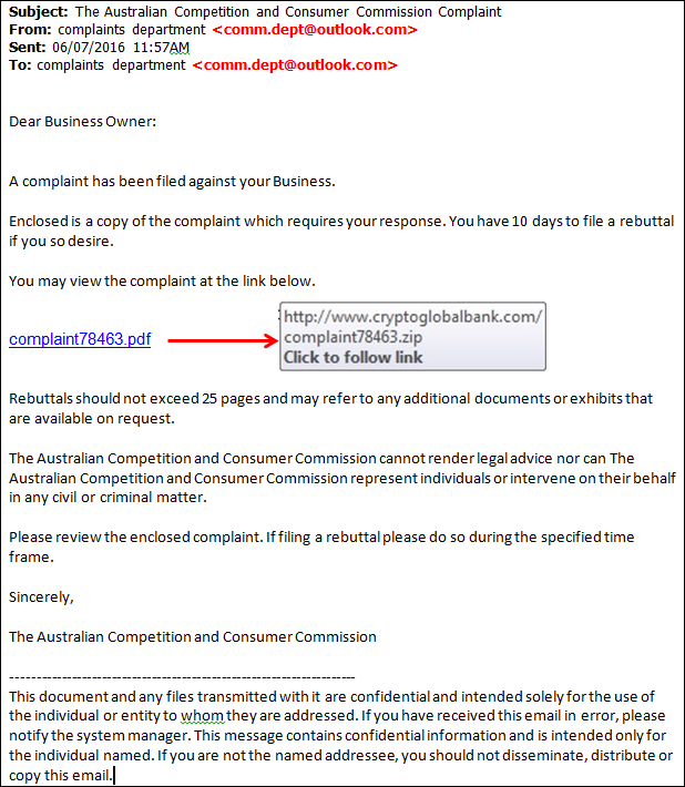 Scam email impersonating the ACCC